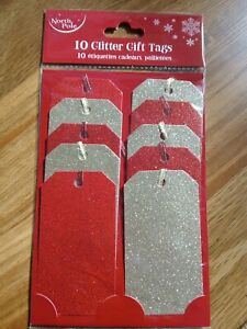 10 glitter christmas  gift tags  red/gold