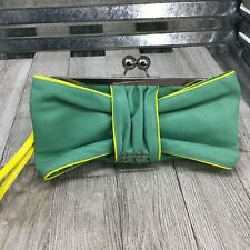 Jessica Simpson Women's Clutch Faux Leather Green Yellow Trim Purse Wristlet