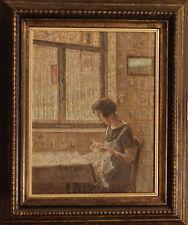 RICAMO CUCITO Dipinto Originale a Olio 1800 Sew Embroidery Tricot