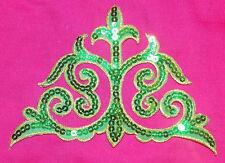 green sequin embroidery patch lace applique motif dress irish dance costume