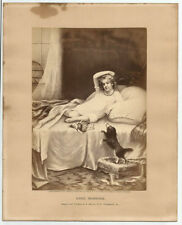 GOOD MORNING Antique 1874 Engraving Print N. Monroe Philadelphia Girl Doll Dog