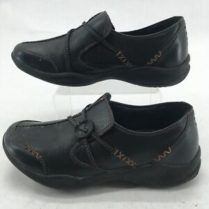 Clarks WaveWalk Womens 7M Wave Run Slip On Loafers Comfort Shoes Leather Black
