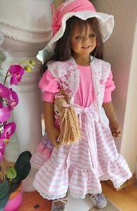 Outfit für Himstedt u. a. Puppen 80-90cm 6 tlg. Kleidung Schuhe Hut