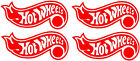 "4"" LOT 4 RED HOT WHEELS LOGO VINYL DECAL STICKER CAR TRUCK WINDOW JDM VINTAGE"