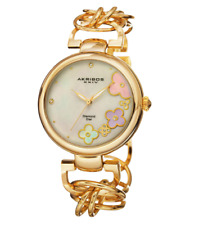 Akribos XXIV Mother Of Pearl Dial Gold Tone Womens Watch 0498