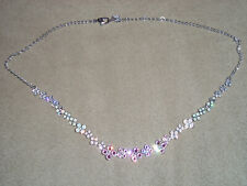 Beautiful Swarovski Crystal Necklace and Earrings Set - Pink Floral