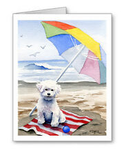 BICHON FRISE AT THE BEACH Set of 10 Note Cards With Envelopes