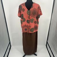 Hot Cotton by Mark Ware Sz XL Linen Blouse & Maxi Skirt Set Brown Orange Print