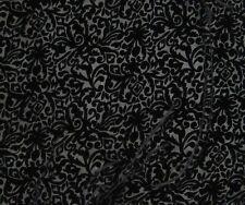 "Burnout Silk VELVET Fabric BLACK BAROQUE SCROLL fat 1/4 18""x22"" remnant"