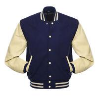 Navy Blue Wool Varsity Letterman Bomber Jacket Cream Pure Leather Sleeves
