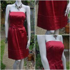❤ WHISTLES Size 8 Ladies Red Duchess Satin Pleated Hem Strapless Cocktail Dress