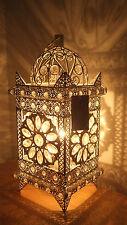 Lampada da Tavolo Bianco Metallo splendido stile marocchino Jeweled Cutwork Fiore Nuovissimo