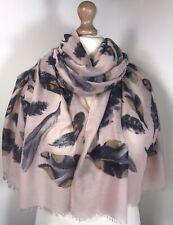 NEW Pink Feather Scarf Pashmina Rose Gold Foil Soft Feel Shimmer Oversized Long