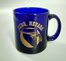 Reno Nevada cobalt blue glass coffee mug colt pistol gun pictured Vtg made Usa