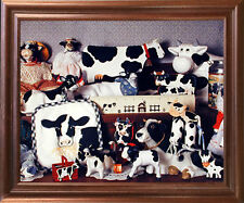 Holstein Cow Toys Collection Farm Animal Bathroom Wall Art Decor Framed Picture
