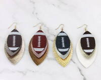 Glitter Vegan Leather Football Leaf Statement Earrings for Women Layered Jewelry