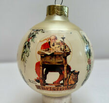 NORMAN ROCKWELL SATURDAY EVENING POST CHRISTMAS 89 GLASS ORNAMENT ORIG BOX VINTA