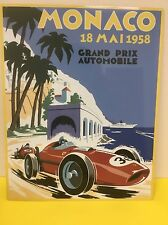 Grand Prix Monaco 1958 Vintage Reproduction Sign F1 Ferrari