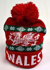 WALES /CYMRU red wooly BOBBLE HAT / SKI HAT,  Welsh