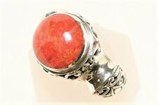 "CORAL RING, LARGE 19MM, 9.5gm STERLING SILVER ""NEW"" AUZ SELLER R104"