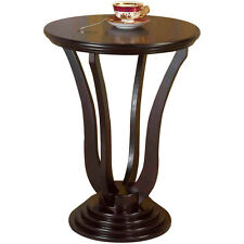 Round End Table Cherry Finish Accent Lamp Stand Corner Plant Display Living Room
