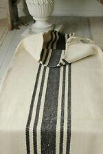 Grain Sack vintage with rare black stripes homespun linen and cotton textile
