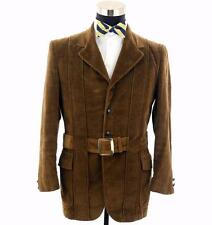 Full Vintage 2/3 Roll Norfolk Rusty Brown Corduroy Coat Jacket  By Gino Sz 40