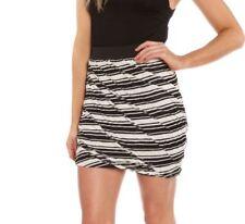 Viscose Regular Size Striped Mini Skirts for Women