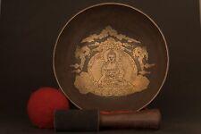 DRAGON BUDDHA CARVED CHAKRA TIBETAN HAND-BITTEN HEALING SINGING BOWL MEDITATION