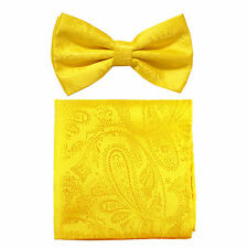 New formal men's pre tied Bow tie & hankie set paisley pattern yellow wedding