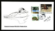 SASKATCHEWAN SW7e 1996 SIGNED FIRST DAY COVER RUDDY DUCK BY YVETTE LANTZ