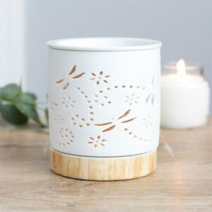 WHITE CERAMIC DRAGONFLY OIL BURNER FREE WAX MELTS AND TEA LIGHT