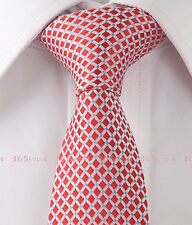 """Red Pink Checker Skinny Slim Woven Silk 2.5"""" Wide Men Necktie Wedding Tie LT166"""