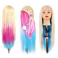 26'' Salon Human Hair Mannequin Practice Training Head Hairdressing Clamp US