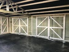 F/F HEAVY DUTY WOODEN REDWOOD GARAGE DOORS - 1 X PAIR of 4FT X 7FT with iron