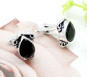 "Handmade 925 Sterling Silver Tanzanite Gemstone Jewelry Cuff Links Size-1"""