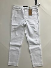 NEW Hollister Collection High Rise Crop Ripped White Jeans SZ 9 R Destroyed $60