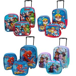 Official Kids Boys Girls Childrens Wheeled Hand Luggage Rucksack Lunch Bag Set