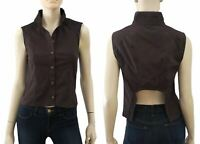 ETOILE ISABEL MARANT Dark Brown Sleeveless Cotton Blouse Top S NEW