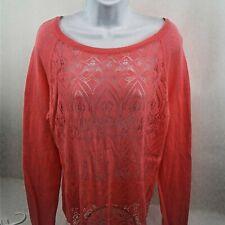Lauren Conrad Womens Linen Melon LS Pullover Top w/Pointelle Knit Front Size L