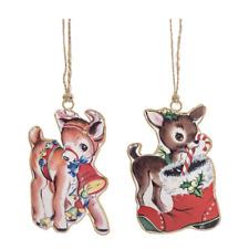 "Reindeer Retro Vintage Inspired Metal Ornament Set 2 Christmas 4"" Ganz"