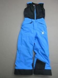 SPYDER SIZE 5 KIDS BLACK/BLUE INSULATED OUTDOOR SNOW SKI BIB PANTS T433