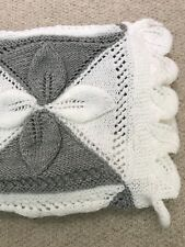 Gorgeous Hand Knitted Grey And White Petal Baby Blanket