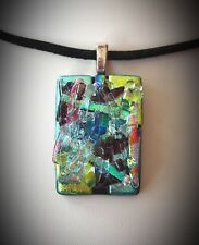 Dichroic Fused Glass Abstract Pendant Handmade