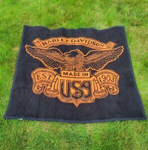 Vintage Harley Davidson Biederlack Throw Fleece Blanket Black / Orange Two Sided
