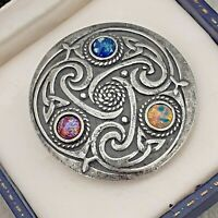 Vintage Blue, Pink Gold Fire Opal Glass - Scottish Celtic Knot Pewter Brooch Pin