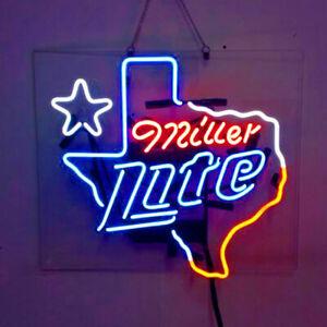 """New Miller Lite Texas Beer Neon Light Sign Lamp 19""""x15"""" Acrylic"""