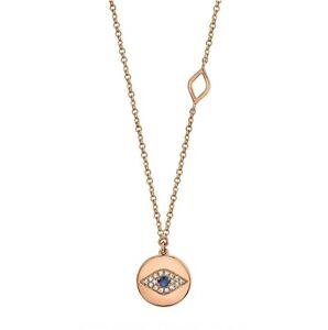 Sapphire Eye Diamond Necklace 14K Rose Gold Pendant Evil Seeing Circle Disc