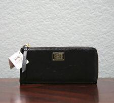 COACH $148 Poppy Italian Calfskin Leather Slim Zip Wallet 46070 BRASS/BLACK