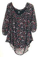 Bobeau Womens Sheer Blouse Shirt Size Large semi sheer  Black Gray Tie Sleeves